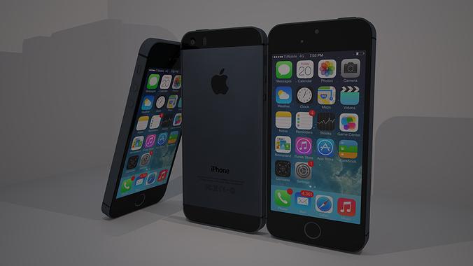 iphone 5s 3d model obj 3ds c4d dae 1