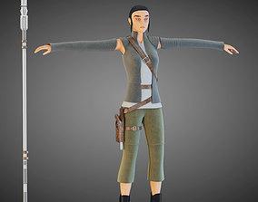 Star Wars Rey T-pose 3D