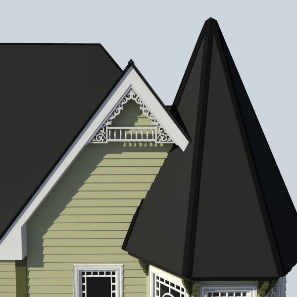 Gable decoration 1 3d model max obj fbx ma mb - Exterior house gable decorations ...
