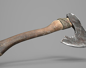 Game Ready Aged Wooden Axe 3D model