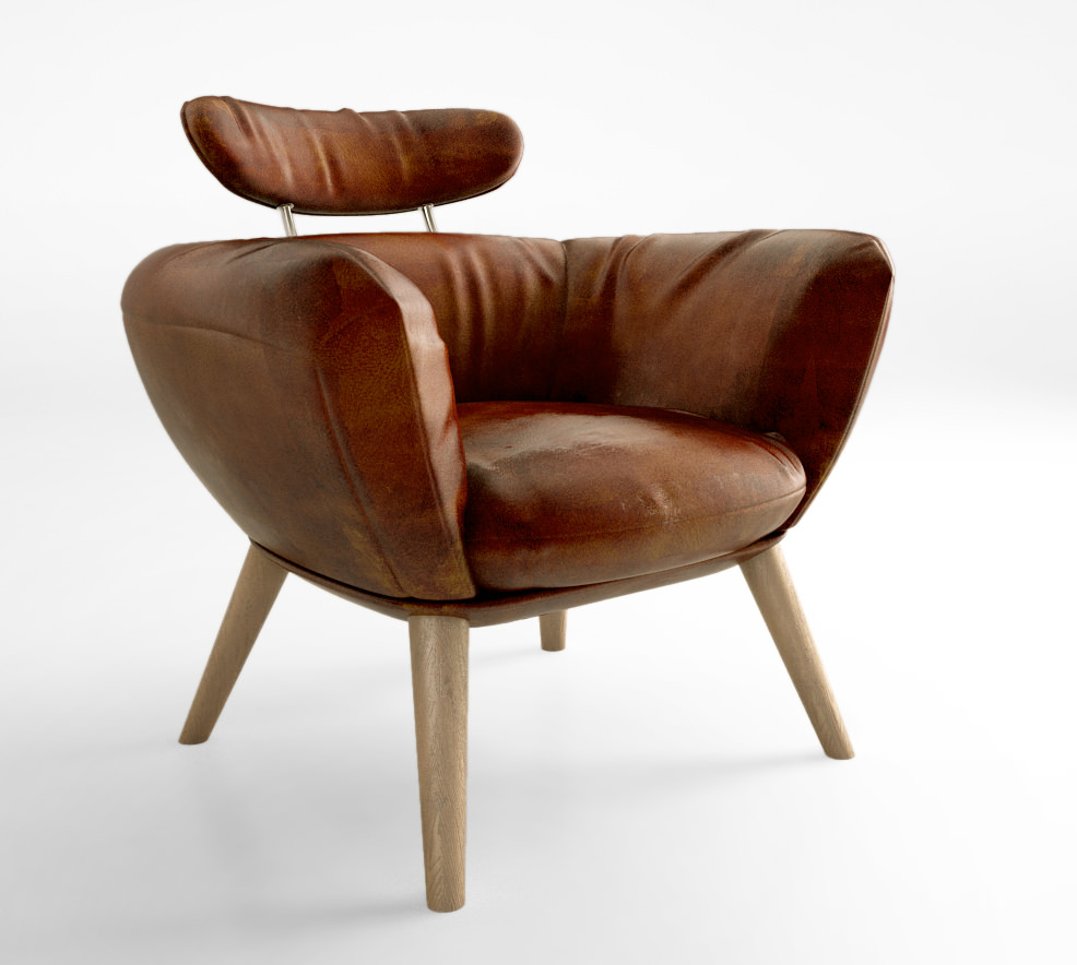 Schots Saturn Genuine Leather Vintage Armchair