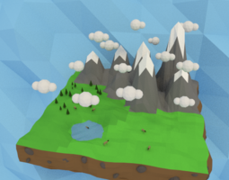 VR / AR ready 3d model low-poly mountains