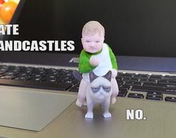 Success Kid on Grumpy Cat 3D print Meme