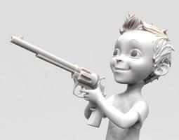 3D model Small boy with gun