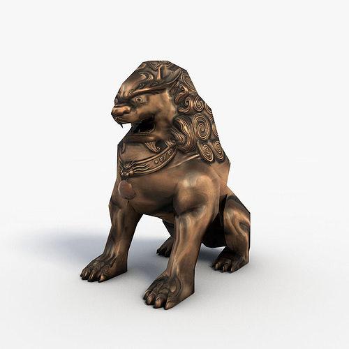 chinese guardian lion 3d model low-poly max obj 3ds fbx c4d 1