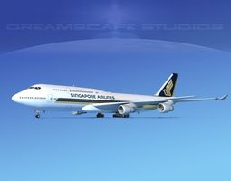 3D Boeing 747-8I Singapore Airlines