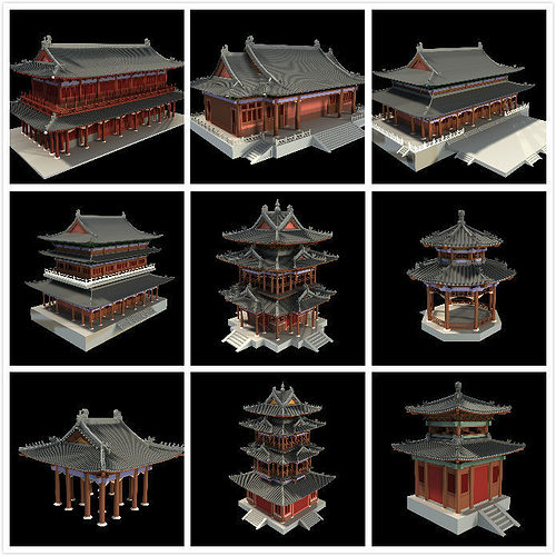 asian temple collection 3d model max 1