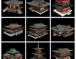 3d oriental asian temple collection