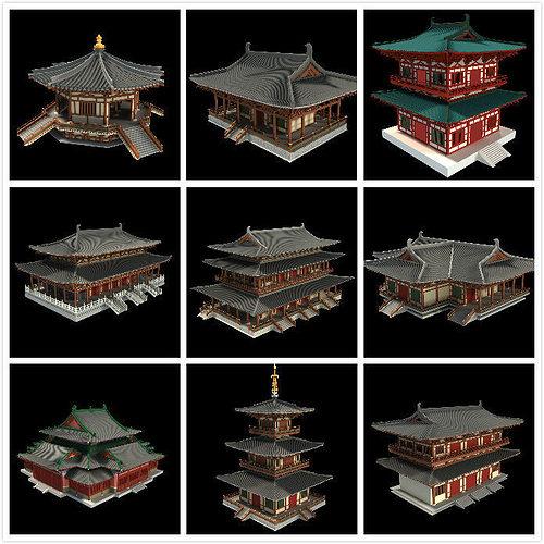 oriental asian temple collection 3d model max obj mtl fbx tga 1