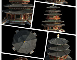 3D model Chinese classical temple structure