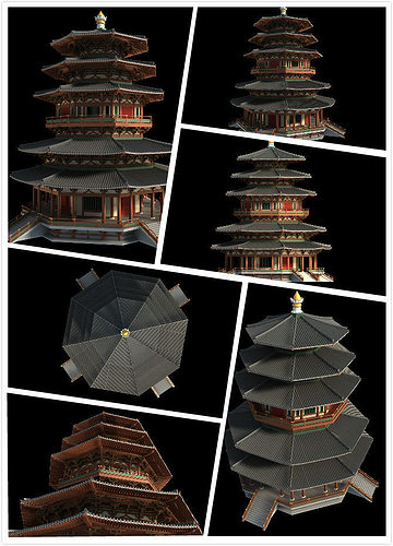 chinese classical temple structure 3d model max fbx 1