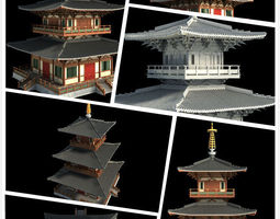 3D Chinese classical temple tower