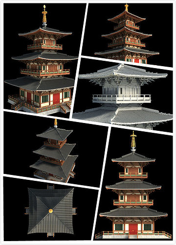 chinese classical temple tower 3d model max 1