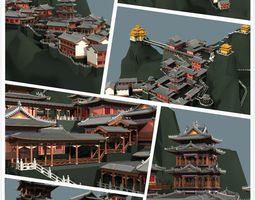 chinese classical temple in the mountains 3d