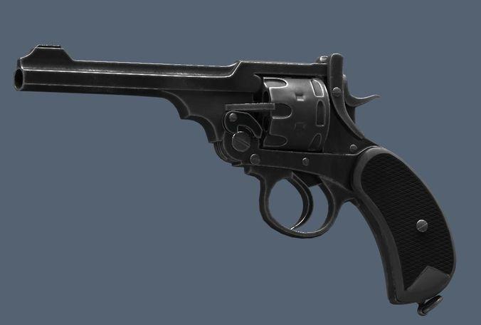 webley revolver  3d model low-poly obj mtl fbx ma mb tga 1