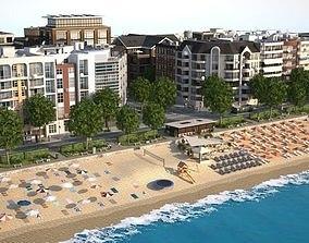 3D asset Beach Town