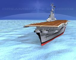 animated 3d ticonderoga class carrier cv-40 uss tarawa