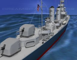 Gleaves Class Destroyer USS Doyle DD494 3D model
