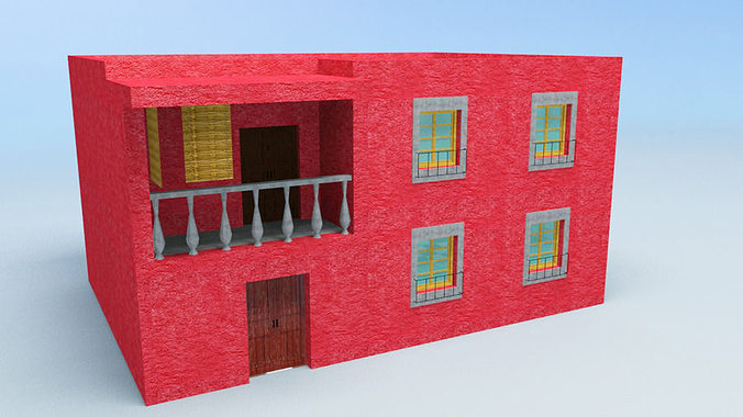 House with balcony mexico 3d model cgtrader for Balcony models