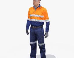Mining Safety Worker Hi-Vis 3D Model