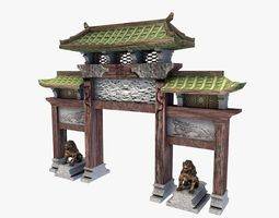 3d asset asian gateway low-poly