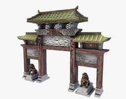 asian gateway 3d model low-poly max obj 3ds fbx c4d