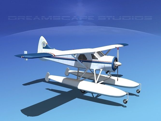 dehavilland dhc-2 civil air patrol 3d model max obj mtl 3ds lwo lw lws dxf stl 1