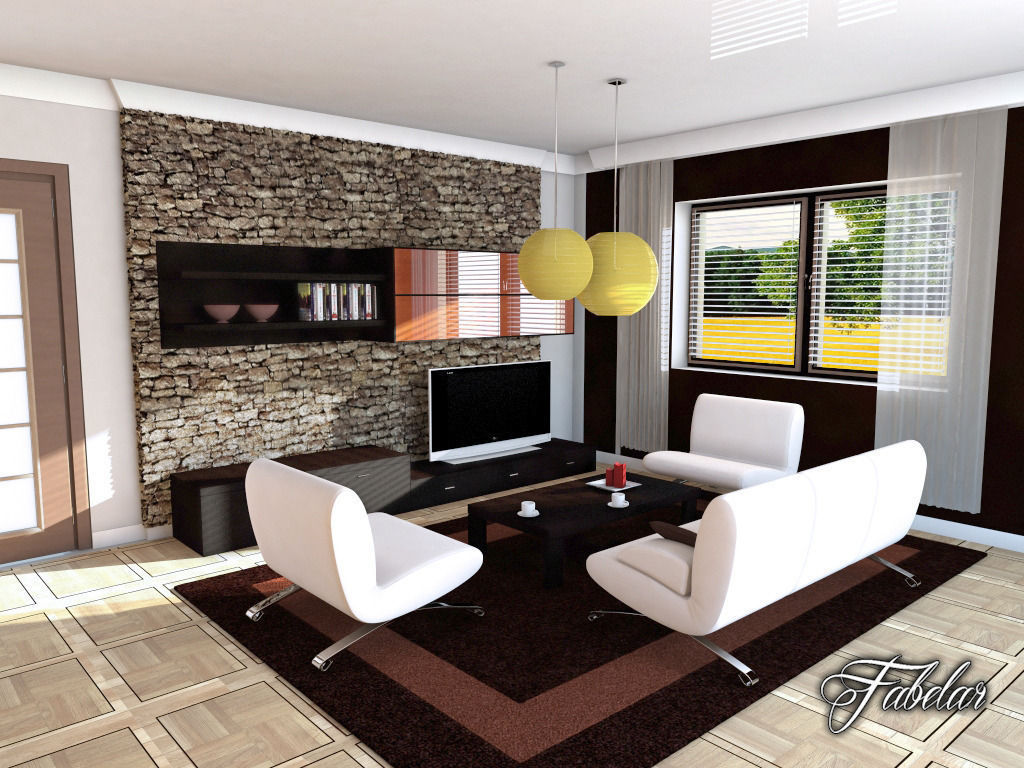 living room 04 3d model max obj 3ds fbx c4d dae