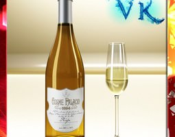 white wine bottle and cup 3d