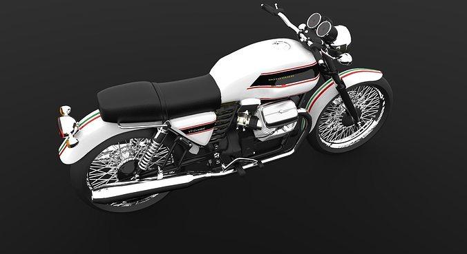 moto guzzi v7 classic cafe racer 3d model obj mtl 3dm 1