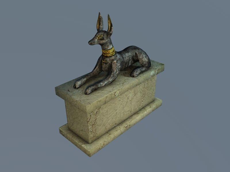 Low poly Anubis sculpture