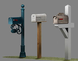 3D asset US Mailboxes Pack - Low Poly