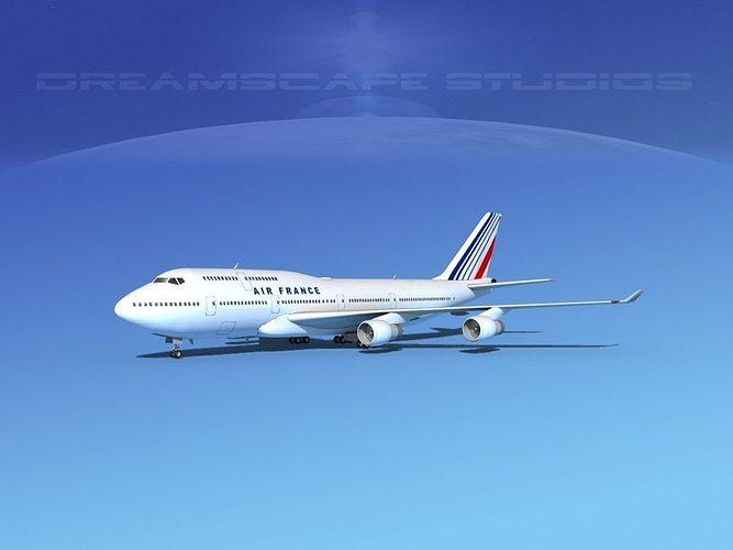 boeing 747-400 air france 3d model max obj 3ds lwo lw lws dxf stl 1