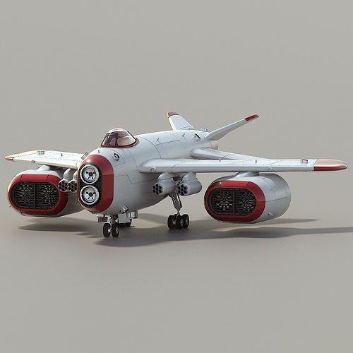 d-1 space superiority fighter hd 3d model rigged animated obj 3ds blend 1