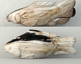 Hand Carved Petrified Wood Koi Fish 2 3D model