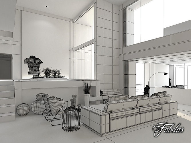 Living Room 3d Model living room living architecture 3d | cgtrader