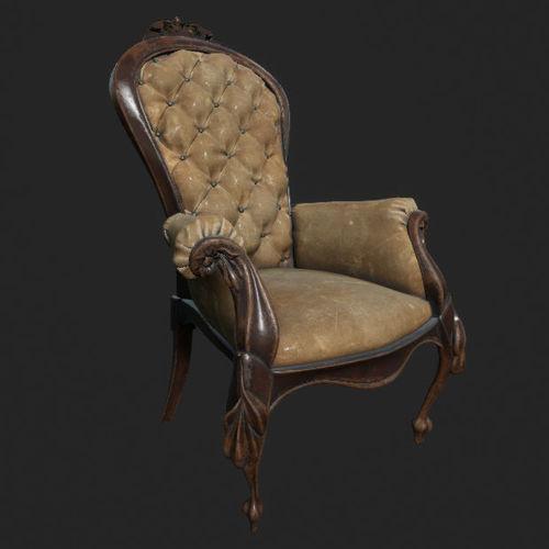 dirty old antique chair 3d model fbx uasset 1 ... - Dirty Old Antique Chair 3D Asset CGTrader