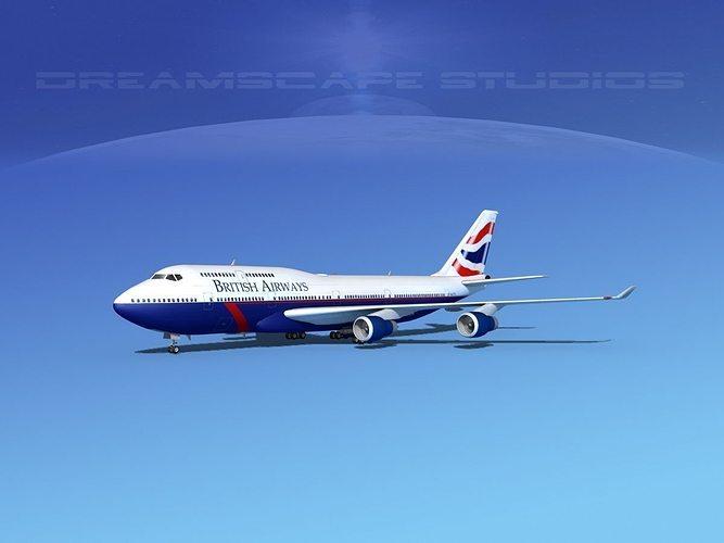 3d boeing 747 400 british airways 3 cgtrader for Boeing 747 exterior