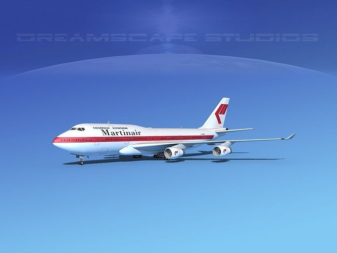 boeing 747-400 martin air 3d model max obj 3ds lwo lw lws dxf stl 1