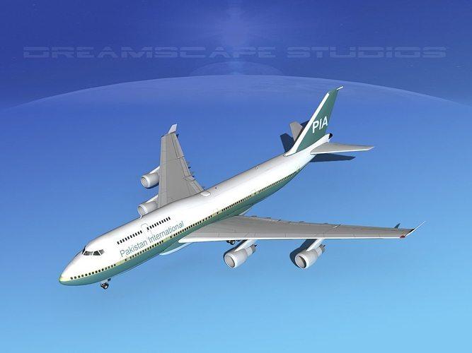 boeing 747-400 pakistan  3d model max obj 3ds lwo lw lws dxf stl 1