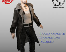 3d asset animated tough guy low-poly