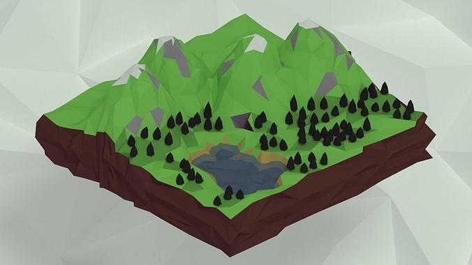 mountains 3d model low-poly obj mtl 3ds blend dae 1