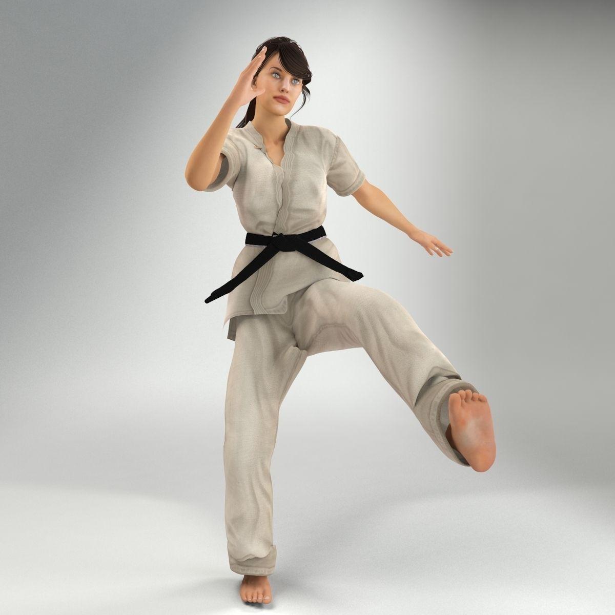 Karate Lady Lite Rig 3d Model Cgtrader