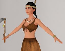 T pose nonrigged model of Native American girl