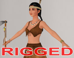 T pose rigged model of Native American girl 3D