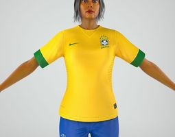 3D Soccer Lady Full Not Rigged