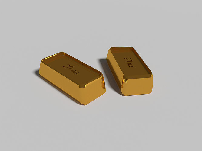 gold pieces 3d model blend 1