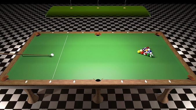 ... Miniature Pool Table 3d Model Obj Skp 2