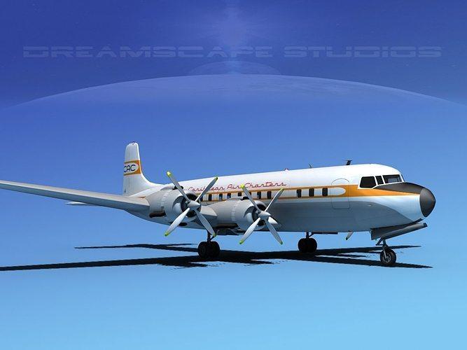 douglas dc-7c carribean charter 3d model max obj 3ds lwo lw lws dxf stl 1