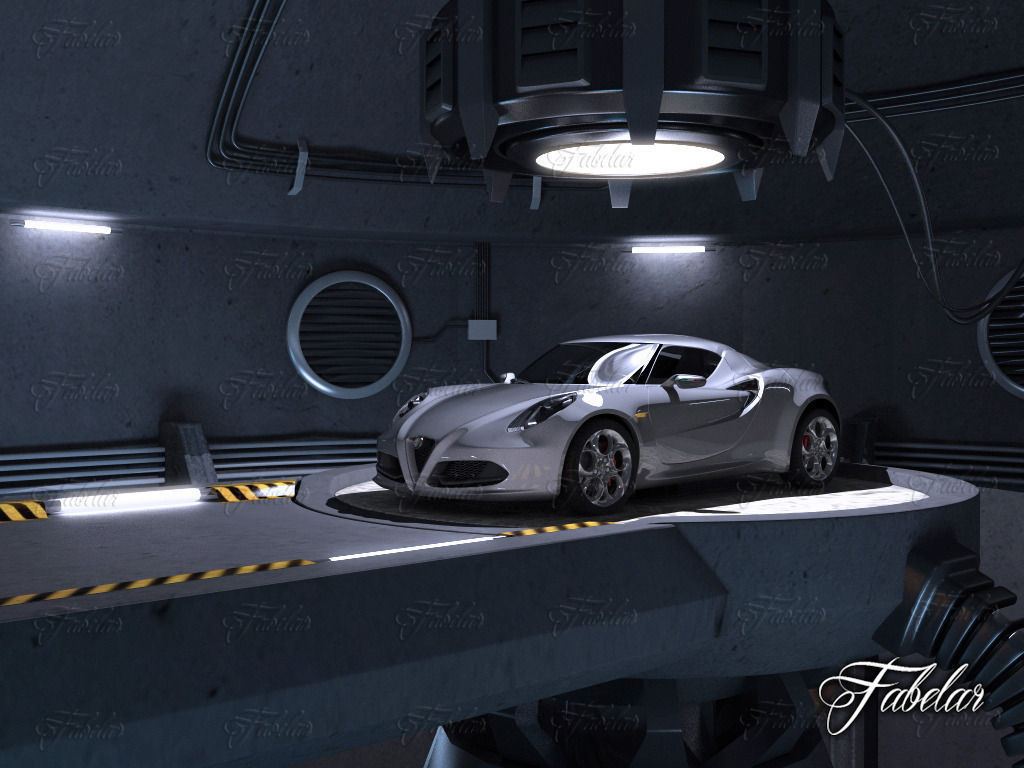 Alfa 4c garage 3d model rigged max obj 3ds fbx c4d dae for Garage ds auto ouistreham